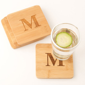 Monogrammed Bamboo Coasters