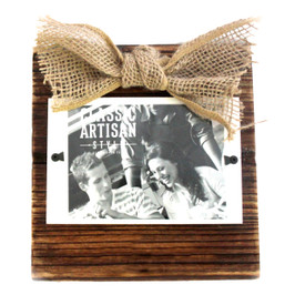 "Custom Wood Frame with Burlap Bow 3.5""x5"" Picture"
