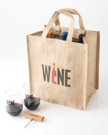 6 Bottle Jute Tote