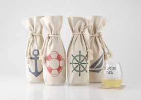 Canvas 1 Bottle Tote with Rope