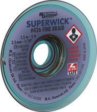 426-NS, Super Wick, #4 Blue, Static Free, No Clean, 5 ft, Item #426-NS