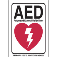 """102713 B302 5""""H X 3.5""""W BLK,RED/WHT AED SIGN"""