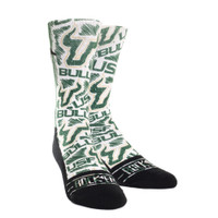 USF Bulls Logo Sketch White Rock Em Socks
