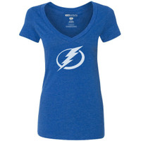 Women's Tampa Bay Lightning Tri-Blend Logo GS V-neck Tee