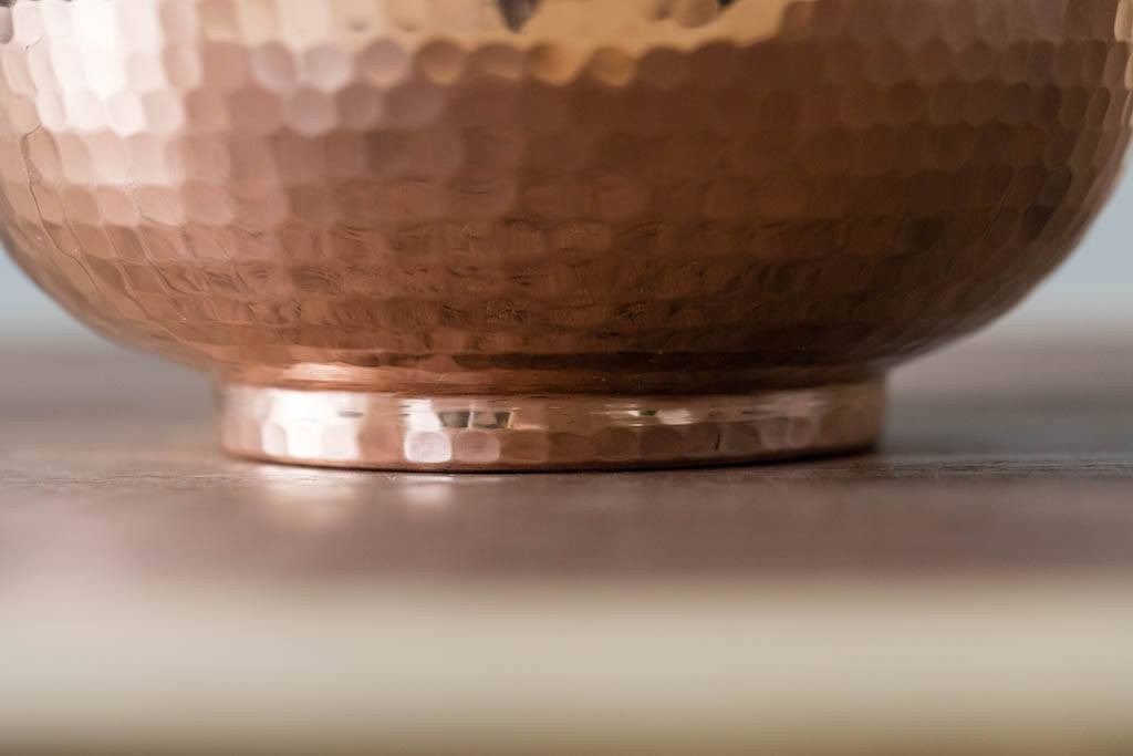 Base of a Hammered Copper Pitcher by Sertodo Copper (76 Ounce Bisotun Pitcher with Copper Handle)
