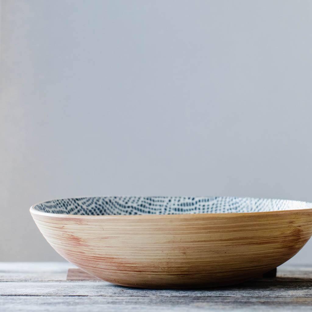 Terrafirma Ceramics - Handmade Ceramic Serving Bowl (Medium - 12 inch) - Pattern: Braid, Color: Charcoal by Ellen Evans