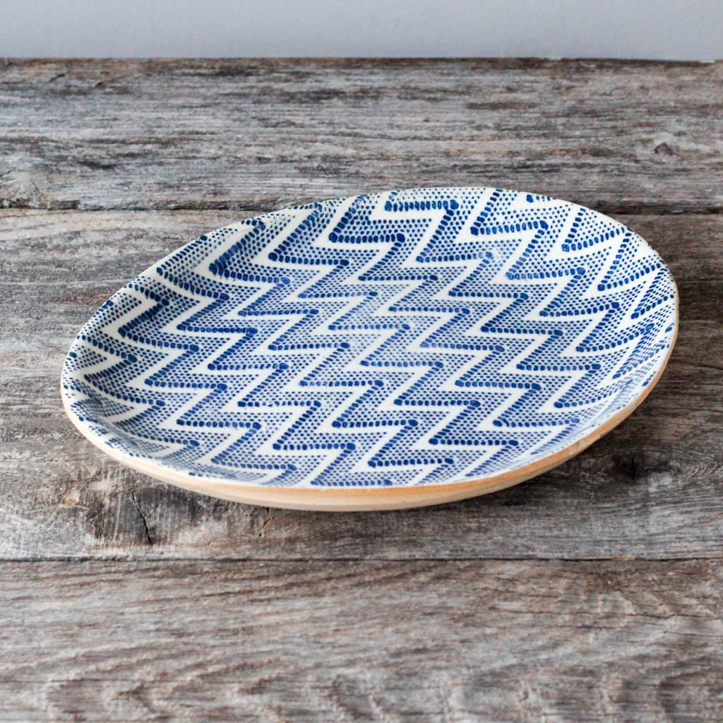 Terrafirma Ceramics Small Oval (Cobalt/Chevron)