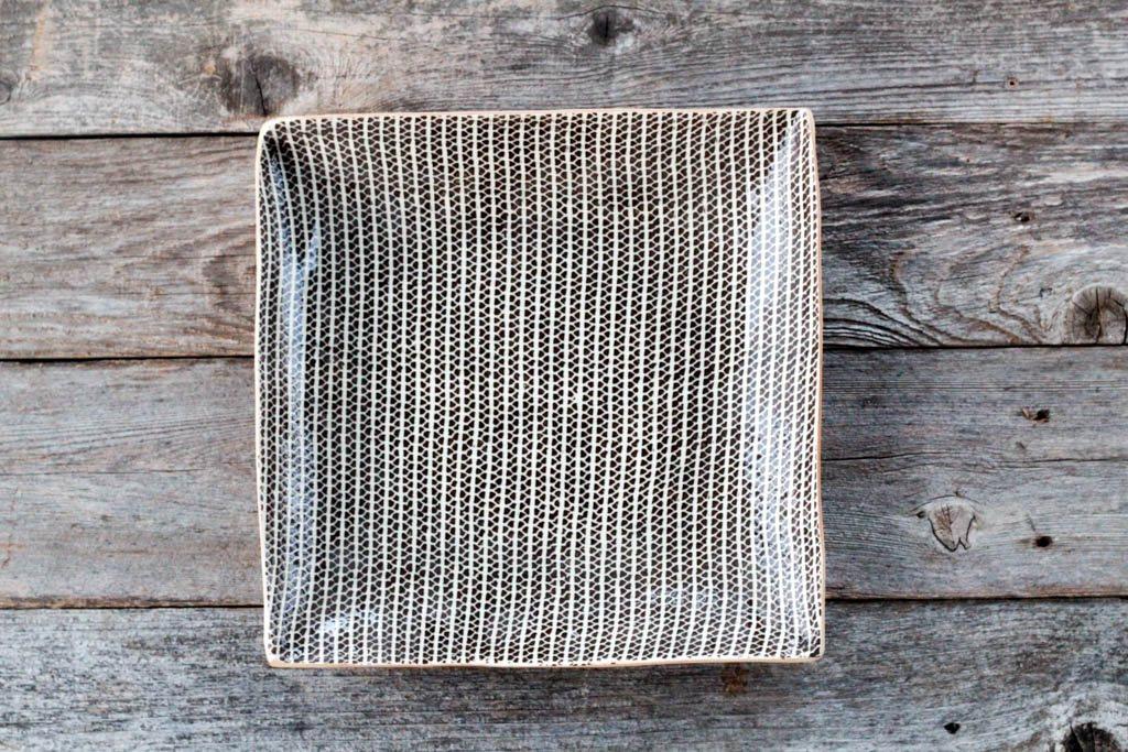 "Terrafirma Ceramics 13"" Square Tray (Chestnut/Strata)"