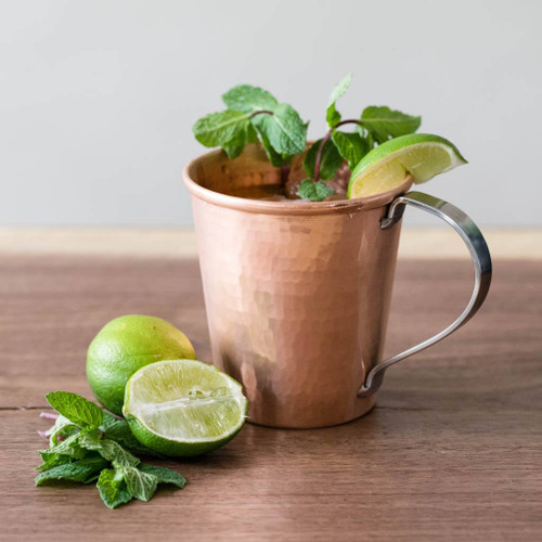 Hammered Copper Moscow Mule Mug by Sertodo Copper (Stainless Steel Handle - 18 ounce)