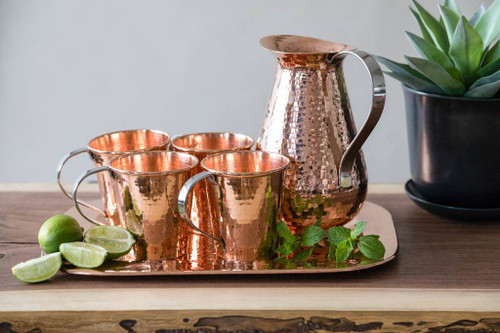 Mules for Four Set by Sertodo Copper (includes Copper Pitcher, Copper Moscow Mule Mugs and Platter)