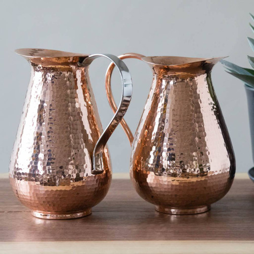 Hammered Copper Pitchers by Sertodo Copper (76 Ounce Bisotun Pitchers - Stainless Steel Handle and Copper Handle)