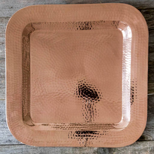 "Hammered Copper Platter by Sertodo Copper (18"" Thessaly Square)"