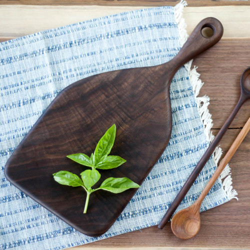 Handmade Wooden Cutting Board | the Baker by Wood & Button (Curly Walnut)