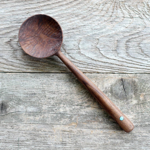 Hand Carved Cooking Spoon (Walnut and Turquoise) Handmade by Four Leaf Wood Shop
