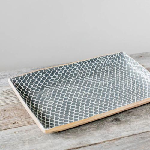 Terrafirma Ceramics - Handmade Ceramic Stacking Serving Platter Taj Charcoal (Medium)