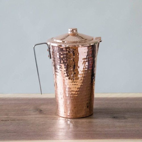 Pure Copper Water Pitcher with Lid by Sertodo Copper (48 ounce Gangotri)