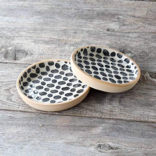 Set of Terrafirma Ceramics Wine Coaster (Black/Dot)