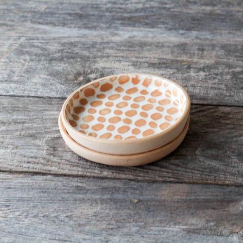 Pair of Terrafirma Ceramics Wine Coaster (Apricot/Dot)