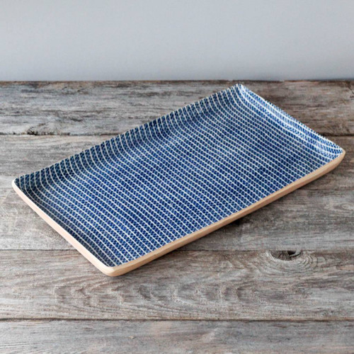 Terrafirma Ceramics Large Stacking Rectangular Tray (Cobalt/Strata)