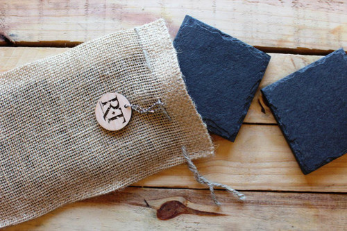 Natural Slate Coasters (Set of 4 - Black) by Rock Timber