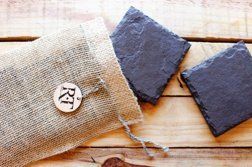 Natural Slate Coasters (Set of 4 - Plum) by Rock Timber