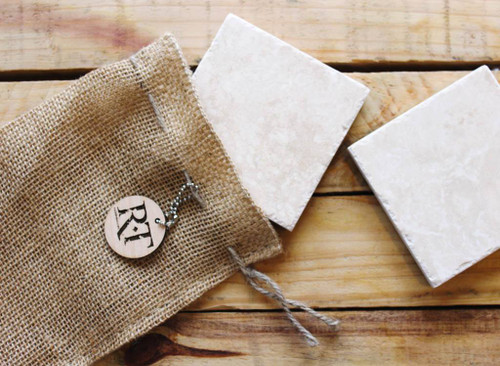 Natural Stone Coasters (Set of 4 - Classic White) by Rock Timber