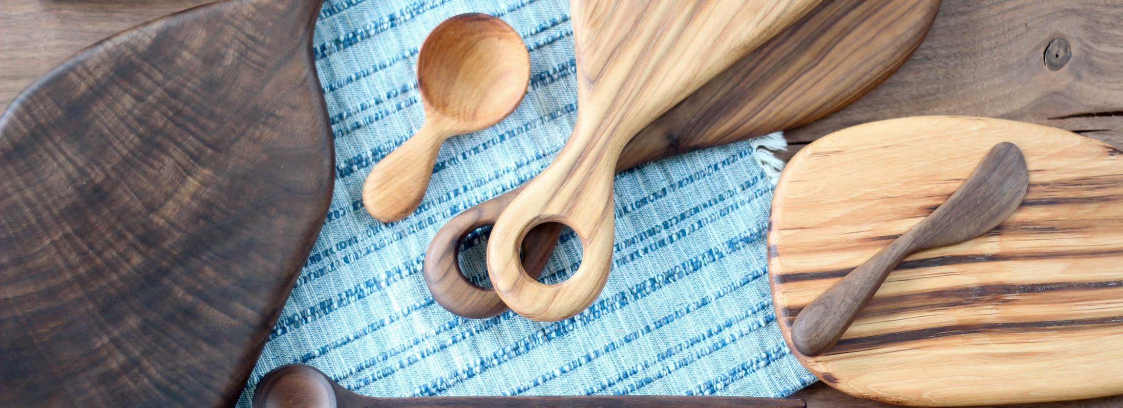 Handmade wooden cutting boards, spoon, scoop and knife by Wood & Button