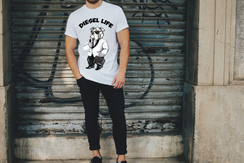 Black & White Suit Diesel Arched Logo T-Shirt