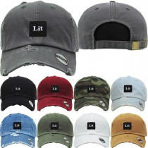 Lit Dad Hat Distressed Baseball Cap  Free 1 Location Text