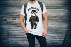 Diesel Life Logo Hat & Cell Phone Bulldog Mens T-Shirt