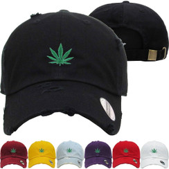Leaf Smoke Plant Weed Medical Dad Hat Distressed Baseball Cap  Free 1 Location Text