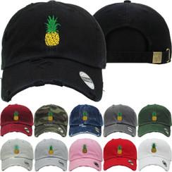 Pineapple Lemon Dad Hat Distressed Baseball Cap  Free 1 Location Text