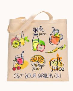 Tote Bag Juice Apple, Orange, Cherry Juice Tote bag