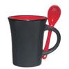8oz Aztec Spooner Mugs with Custom Imprint - Matte Black Exterior/Red Interior