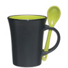 8oz Aztec Spooner Mugs with Custom Imprint - Matte Black Exterior/Lime Green Interior