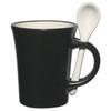 8oz Aztec Spooner Mugs with Custom Imprint - Matte Black Exterior/White Interior