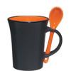 8oz Aztec Spooner Mugs with Custom Imprint - Matte Black Exterior/Orange Interior