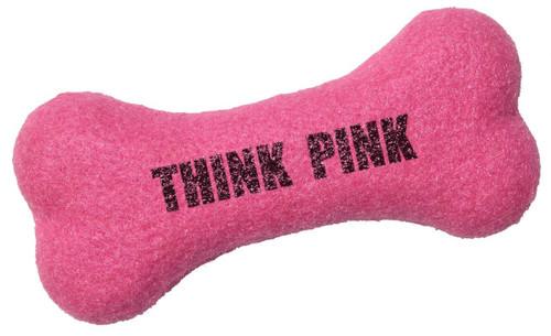 Custom Printed Bone Shaped Tennis Ball Dog Toys - Neon - Hot Pink