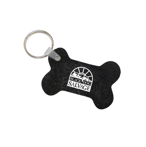 Promotional Recycled Tire Dog Bone Key Chain with Custom Imprint