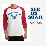 CARTER LAKE ELEM. 3/4 RAGLAN SLEEVE WHITE T-SHIRT