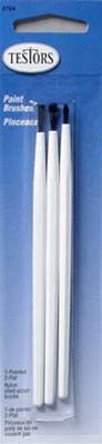 8704 Testors  2 Flat 1 Pointed Brush Package