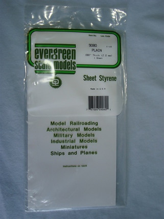 9080 Evergreen Scale Models Styrene Sheet Plain 6 x 12""