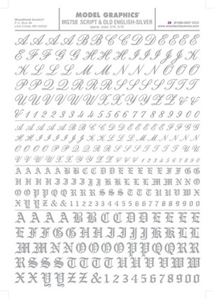 MG758 Woodland Scenics Co Dry Transfer Alphabet & Numbers - Railroad Script & Old English Gold