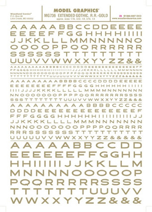 MG736 Woodland Scenics Co Dry Transfer Alphabet & Numbers - Extended Gothic RR Gold