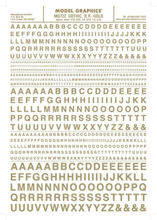 MG722 Woodland Scenics Co Dry Transfer Alphabet & Numbers - Railroad Gothic Gold
