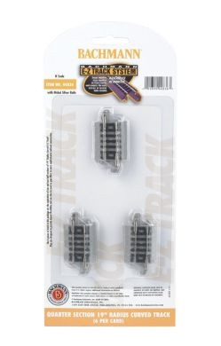 """44836 N Bachmann Scale E-Z Track Quarter Section 19"""" Radius Curved Track (6)"""