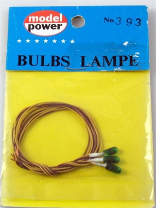 393 Model Power 393 Grain of Wheat Bulb, 3.2mm/3.5v/Green (3)