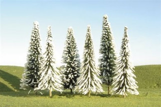 "32002 Bachmann HO 5"" - 6"" Pine Trees with Snow (six pieces per pack)"