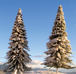 "295-T13 Grand Central Gems Assorted Pine Trees with Snow (16) 3""-9"" Tall"