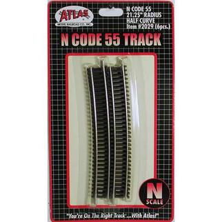 2029 Atlas N Scale Code 55 Track 21.25 Radius Half Curve (6 pcs/pk)
